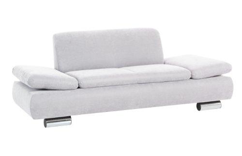 Max Winzer 287121002051728 Sofa Tournai 2-Sitzer samtiges Flachgewebe, silber