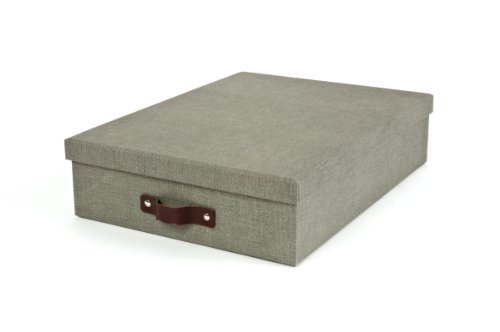 Bigso Oskar Canvas Paper Laminate Letter Box, Grey (Document Storage Box compare prices)