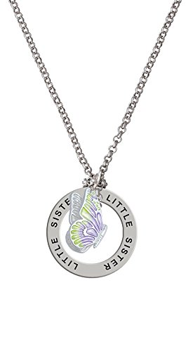 Translucent Purple & Lime Green Flying Butterfly - Little Sister Affirmation Necklace