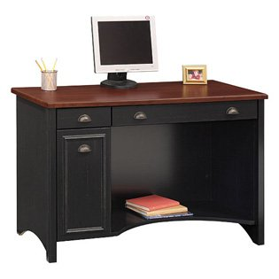 Stanford Computer Desk-Antique Black With Hansen Cherry Top
