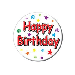 Happy Birthday Button Party Accessory (1 count) (1/Pkg)
