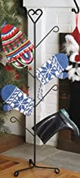 Wrought Iron Heart Mitten And Boot Dryer 4 Pair