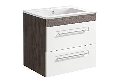 Set di accessori per bagno Cosmo base 60 cm mobile da bagno bianco lucido Badmöbelset 01117