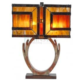 Andre Amber Art Deco Style Tiffany Glass Table Lamp