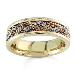 Women's Handmade 14k Tri-Color Gold Textured & Braided Comfort-Fit Wedding Band (6.00 mm)