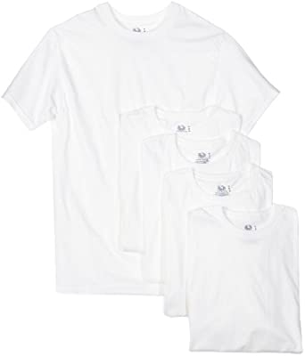 Fruit of the Loom Men's 5-Pack Crew Neck T-shirt, White, Small