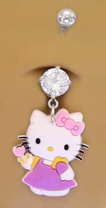 Hello Kitty Flower Dangle Belly Navel body jewelry piercing bar Ring