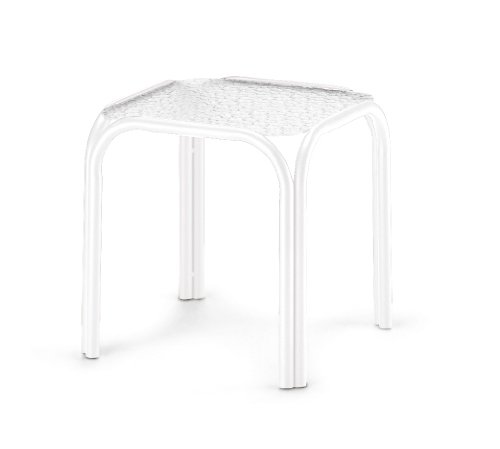 Telescope Casual Square Powdercoated Aluminum Acrylic End Table, 18.5-Inch, Gloss White Frame Finish