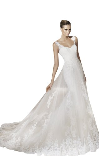 Sheath/Column V-Neck Court Train Tulle/Satin Wedding dress with Ruched/Applique