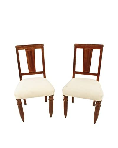 Pair of 1940's English Side Chairs, Brown/Cream