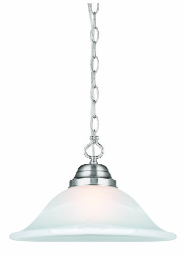 Design House 517565 Millbridge 1 Light Swag Light Fixture, Satin Nickel Finish with Alabaster Glass