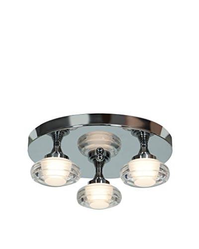 Access Lighting Optix 3-Light LED Damp Location 14 Flush Mount, Chrome/White