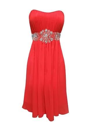 Strapless Chiffon Goddess Prom Dress Knee-Length Junior Plus Size, XS, Coral