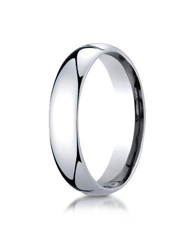 Benchmark 10K White Gold 5Mm Slightly Domed Standard Comfort-Fit Wedding Band Ring, Size 5.5