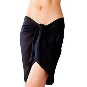Short Black Swimsuit Sarong Cover Up with Built in Ties One Size