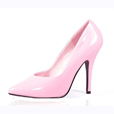 chic baby pink patent 5 inch high heels stiletto court