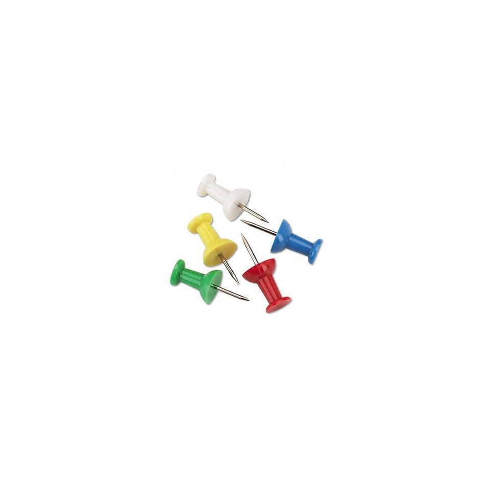 Plastic Head Push Pins, Plastic, Assorted, 3/8, 100/Box