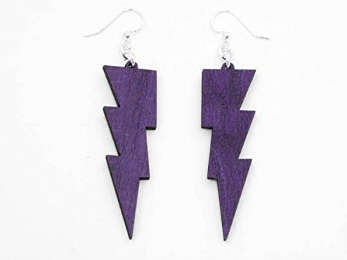 [Purple Thunder Lightning Bolts Wooden Earrings Jewelry] (Thunder Lightning Costume)