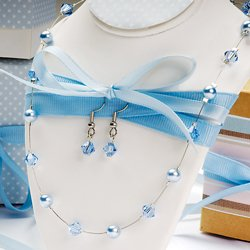 Colored Pearl & Crystal Jewelry Set Chocolate
