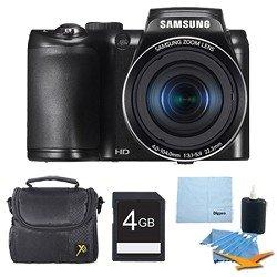 Samsung Samsung WB100 16MP 26x Optical Zoom Black Digital Camera Deluxe Bundle
