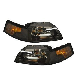 Ford Mustang Headlight Set Black With Xenon Bulbs Driver/Passenger Pair New
