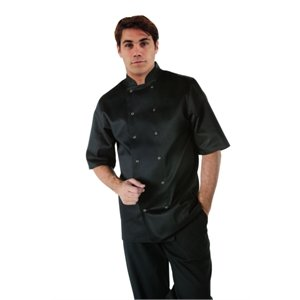 Vegas Short Sleeve Chefs Jacket - Black Polycotton. Size: S (To fit chest 36 - 38