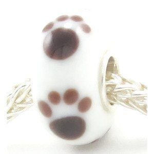 Sterling Silver Puppy Dog Paw Print Murano Style Handmade Lampwork Glass Bead Charm