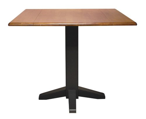 Buy Low Price International Concepts 36″ Square Dual Drop Leaf Pedestal Table in Black / Cherry – T57-36SDP (T57-36SDP)