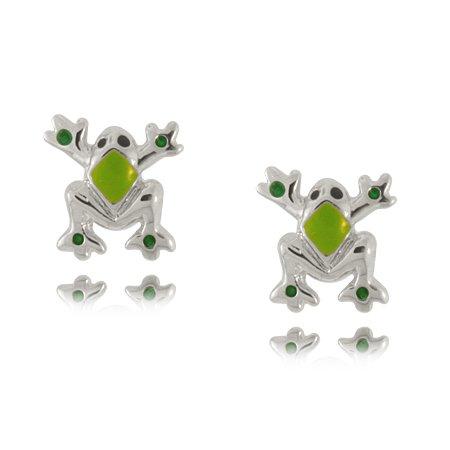 Child's Frog Earrings in Sterling Silver with Green Enamel