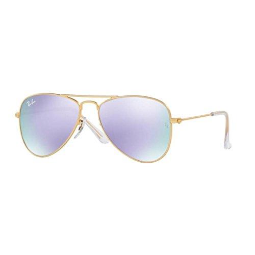 ray-ban-0rj9506s-lunettes-de-soleil-mixte-gold-gestell-matt-gold-glaser-lila-flash-249-4v-small