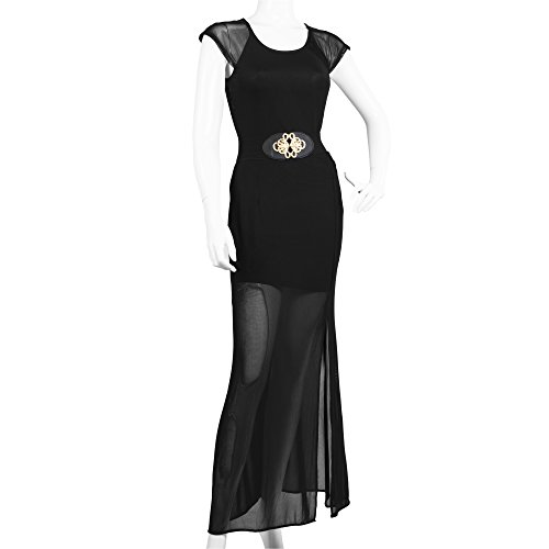 La Reyna® Casual Summer Belt Sleeveless Lace Sundress Long Maxi Dress (Medium, Black)