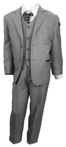 Kids Boys 3 Piece Suit Light Grey W Black Trim