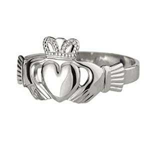 [CJS2272-125] Sterling Silver Puffed Heart Gents Extra Heavy Claddagh Ring