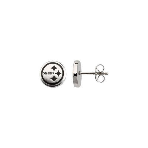 24661 St Steel Pair 10mm Pittsburgh Steelers Logo Stud Earrings Football NFL Men Team