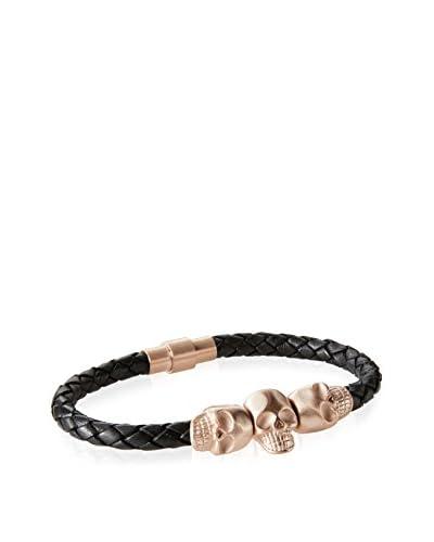BlackJack Leather Stainless Steel Skull Bracelet