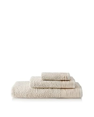 Nine Space Pleated 3-Piece Towel Set, Ivory