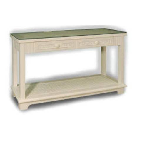 Image of Chasco Designs 4284-ConW White Cottage 2-Drawer Console Table with Glass 4284-Con (4284-ConW)