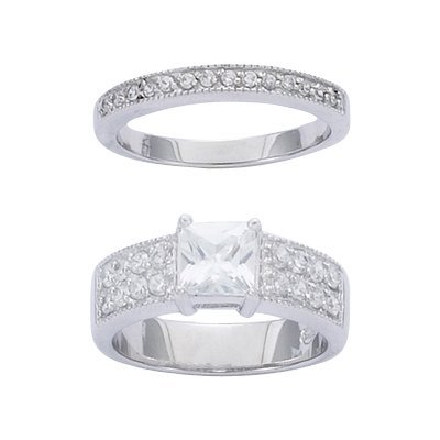 Sterling Silver Clear Cubic Zirconia Solitaire Luxury Bridal Ring Set - Size 7