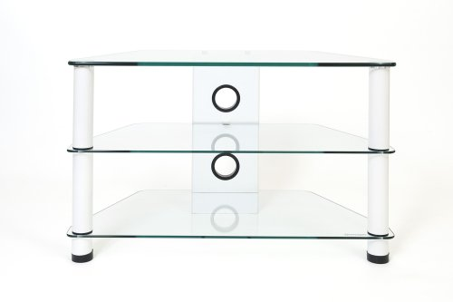 Demagio DM021-WG- Clear Glass and White Column Stand for LCD and Plasma TV - 800mm Wide, Recommended for Screen Sizes up to 32