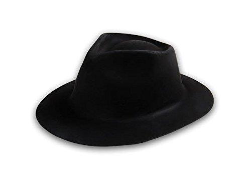 Cappello gangster stile al capone pvc accessorio carnevale travestimento party festa scherzi spettacolo colori diversi copricapo a falda stretta, Plastikhüte CW-60-71:CW-60 nero