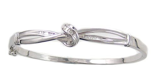 Sterling Silver Diamond Knot Bangle Bracelet