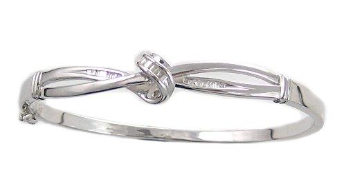 Sterling Silver Diamond Knot Bangle Bracelet