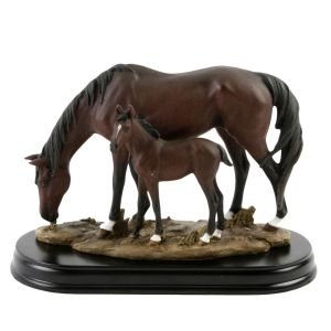 Dark Brown Horse and Foal Ornament