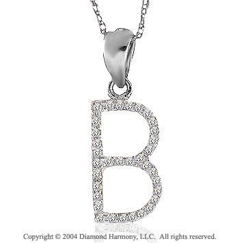 14k White Gold Large Casual Fun Diamond ^B^ Initial Pendant