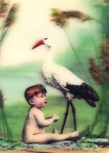 Baby and Stork - 3D Lenticular Postcard Greeting Card (Las Vegas Costume Rental)