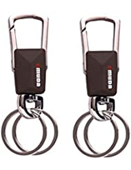 PARRK Omuda Leather Double Ring And Locking Keychain Pack Of 2