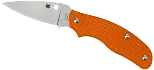 Spyderco Spy-Dk Lightweight Non-Locking Notch Joint Plain Edge Knife, Orange, Left/Right