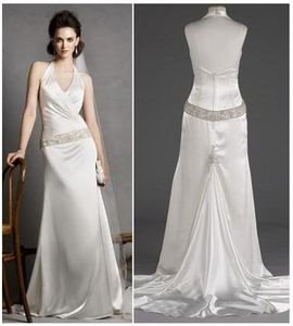 Wedding Dress-charmeuse Halter w/ Ruched Surplice