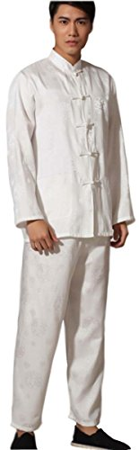 BLINGLAND Kungfu Uniform Tang Suit for Men Chinese Traditional Clothing US M / Tags L-White