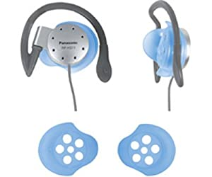 Panasonic RP-HS11 Water-Resistant Lightweight Sport-Clip Headphones with Washable Pads (Blue)